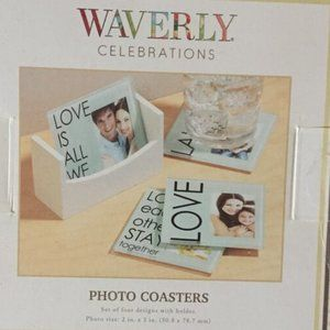 Waverly Celebrations Glass Photo coasters NWT